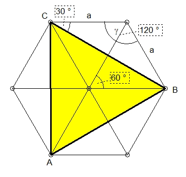 mp forum fl che eines dreiecks im regelm igen sechseck matroids matheplanet. Black Bedroom Furniture Sets. Home Design Ideas